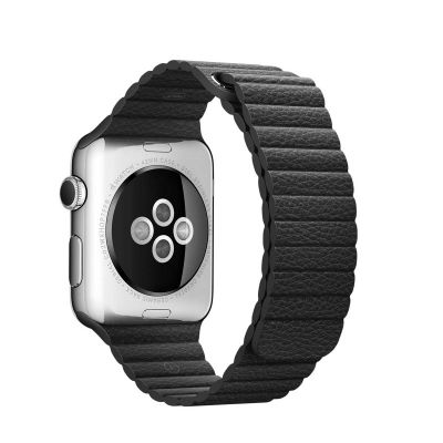 Apple 42 mm Leather Loop (M) - Crna