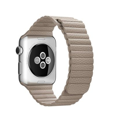Apple 42 mm Leather Loop (M) - Kamen siva