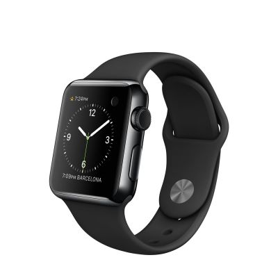Apple Watch 38 mm Space Black Stainless Steel Case s Black Sport Band