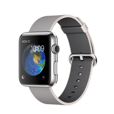 Apple Watch 42mm Stainless Steel Case s Pearl Woven Nylon