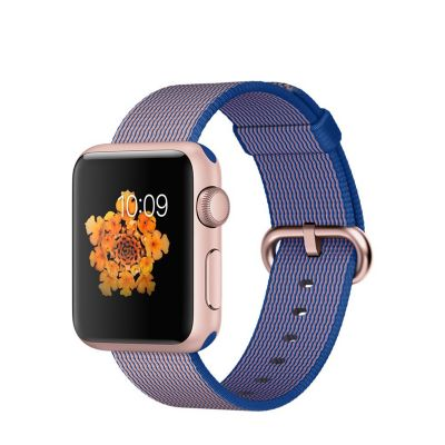 Apple Watch Sport 38 mm Rose Gold Aluminum Case s Royal Blue Woven Nylon
